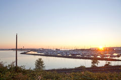 Sunset over Blaine harbor. With railroad Royalty Free Stock Image