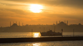 A sunset over blue mosque and hagia sophia Stock Image