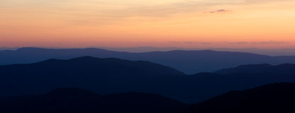 Sunset over the Blue Ridge Mountains Stock Image