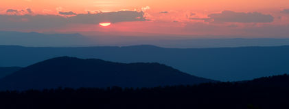 Sunset over the Blue Ridge Mountains Royalty Free Stock Photography