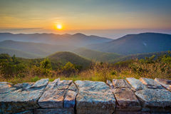 Sunset over the Blue Ridge Mountains, from Skyline Drive, in She Stock Photos