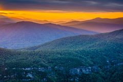 Sunset over the Blue Ridge Mountains from Table Rock, on the rim Royalty Free Stock Photo