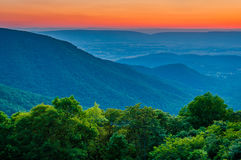 Sunset over the Blue Ridge and Shenandoah Valley from Crescent R stock photo