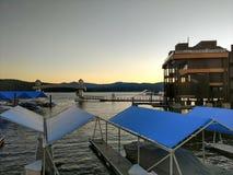 Sunset over boat marina on lake coeur dalene. Sunset over boat marina on lake coeur  dalene Royalty Free Stock Images