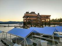 Sunset over boat marina on lake coeur dalene. Sunset over boat marina on lake coeur  dalene Royalty Free Stock Image