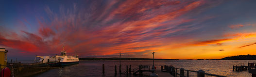 Sunset over Boats in Poole Harbour Stock Images