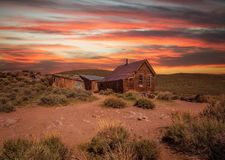 Sunset over Bodie ghost town in California. Bodie is a historic state park from a gold rush era  in the Bodie Hills east of the Sierra Nevada Royalty Free Stock Images