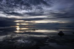 Sunset over the Bolivian saltflats Royalty Free Stock Image