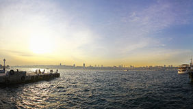 Sunset over Bosphorus strait in Istanbul Royalty Free Stock Images