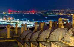 Sunset over Bosphorus, a view from Suleymaniye Mosque, Istanbu Royalty Free Stock Images