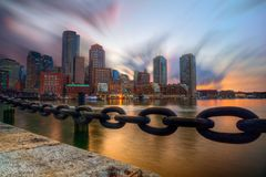 Sunset Over Boston Royalty Free Stock Photo