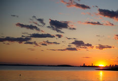 Sunset over Boston, view from World's End park. View of sunset over Boston from World's End park Stock Photo