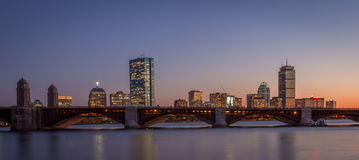 Sunset Over Boston With The Longfellow Bridge Royalty Free Stock Photography