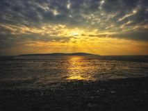 Sunset over Brean Down royalty free stock images