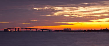 Sunset over the bridge Royalty Free Stock Photography