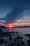 Sunset over bridge Royalty Free Stock Images