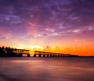 Sunset over bridge in Florida keys, Bahia Honda st. Colorful panoramic landscape of a beautiful sunset at Bahia Honda state park in Florida and the old historic royalty free stock photo