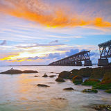 Sunset over bridge in Florida keys, Bahia Honda st Royalty Free Stock Images
