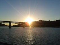Sunset Over Bridge. Bridge Hill Sunset Royalty Free Stock Photo