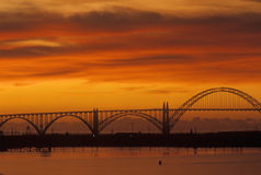 Sunset over Bridge in Newport, OR Royalty Free Stock Images