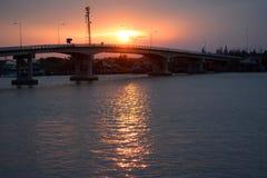 Sunset over the bridge Stock Image