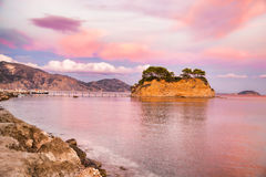 Sunset over the bridge to Agios Sostis island on Zakynthos in Greece Royalty Free Stock Photography