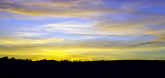 Sunset over the Britsh countryside. British countryside Sunset after a hot summers day in Cornwall Stock Image