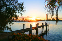 Sunset Over Broadwater Royalty Free Stock Photography