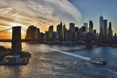 Sunset over a Brooklyn Bridge - HDR image. Royalty Free Stock Photos