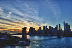 Sunset over a Brooklyn Bridge - HDR image. Stock Images