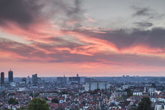 Sunset over Brussels Stock Photo