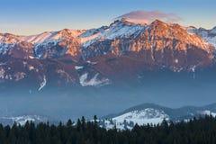 Sunset over Bucegi Mountains, Romania stock photos