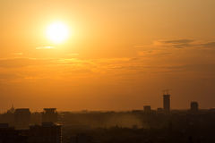 Sunset over Bucharest Royalty Free Stock Photography