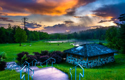 Sunset over building and ponds at Delaware Water Gap National Re Stock Photography