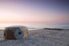Sunset over bunker. Royalty Free Stock Photo