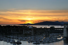 Sunset over Burrard marina Stock Photo