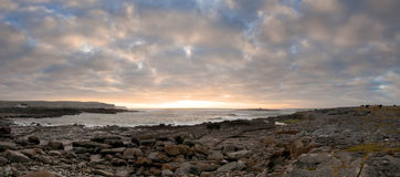 Sunset over Burren coast panoramic Royalty Free Stock Photography