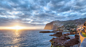 Sunset over Cabo Girao cliff, Madeira Royalty Free Stock Photography