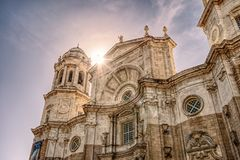 Sunset over Cadiz Cathedral royalty free stock photos