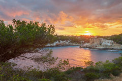 Sunset over Cala Llombards, Santanyi, Mallorca, Spain. Sunset over Cala Llombards, Santanyi, Mallorca, Balearic island, Spain Royalty Free Stock Images