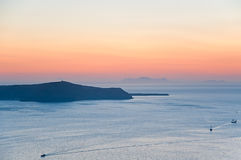 Sunset over caldera, Santorini, Greece Royalty Free Stock Photo