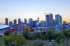 Sunset Over Calgary Downtown Royalty Free Stock Photo