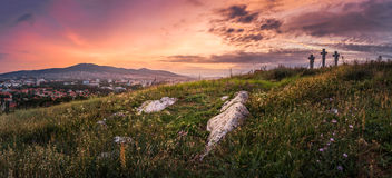 Sunset over Calvary Royalty Free Stock Photography