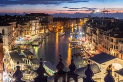 Sunset over the Canal Grande stock images