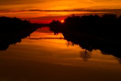 Sunset over the canal Royalty Free Stock Photography
