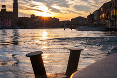 Sunset over canal in Venice city Royalty Free Stock Images