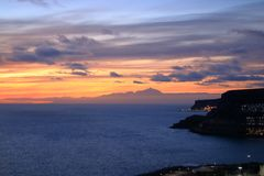 Sunset over Canary Islands, view from Gran Canaria to Tenerife, El Teide volcano, Spain stock photos