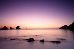Sunset over Cantabric Sea in Silent Beach Stock Images