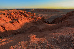 Sunset over the canyon Bayanzag, Mongolia Stock Images