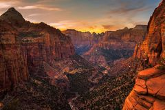 Sunset over Zion National Park, Utah royalty free stock photos